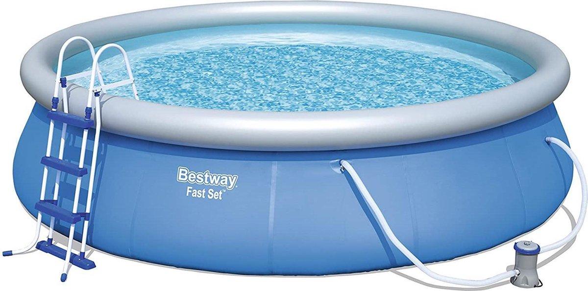 Bestway Fast Set Zwembad   457 x 107 cm   incl. pomp, dekzeilladder   Quick up