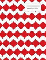 Wide Ruled Composition Notebook 100 Sheets 200 Pages: Red Trellis Design