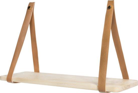 QUVIO Wandplank met leren riemen / Wandplank / Wandrek / Wandplank hout / Wandplank zwevend / Wandplanken / Woonaccessoires - 16 x 50 cm