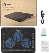 """AUKEY Laptop Cooling Pad 12""""-17"""" Ultrastille laptopkoeler met 3 ventilatoren, 2 USB-poorten, draagbaar en lichtgewicht koelstandaard (CP-R1)"""