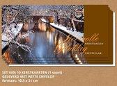 Luxe kerstkaarten met enveloppen, Besneeuwde grachten - 10 stuks