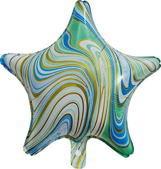 "Folieballon Marble Star ""Turquoise-Goud"" 45x45 cm"