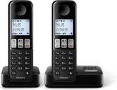 Philips D2552B/01- Draadloze DECT-telefoon met 2 handsets met antwoordapparaat, 50 namen/nummers en nummerherkenning - Zwart
