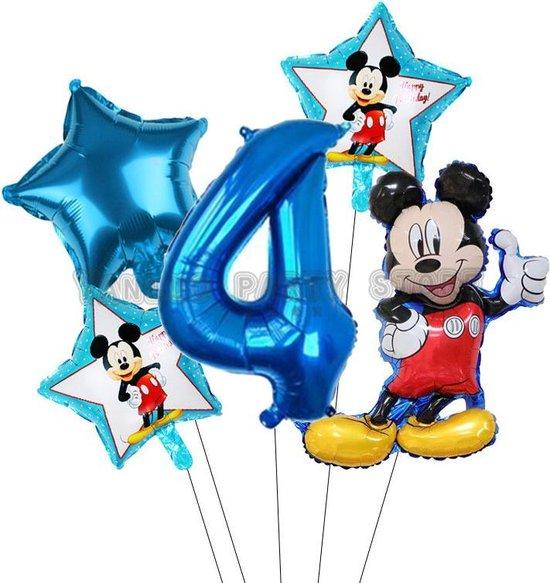 Mickey Mouse ballonnen set verjaardag 4 jaar - folie ballon 5 delig