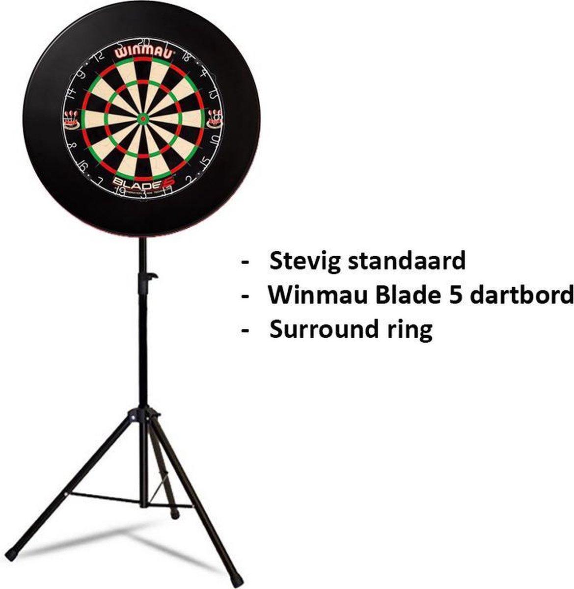 Dragon darts - Portable dartbord standaard pakket - inclusief Winmau Blade 5 - dartbord - surround ring - zwart