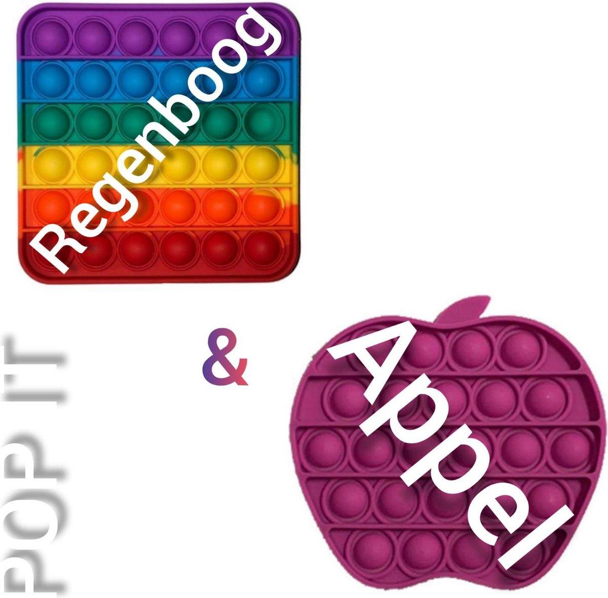 Fidget toys | Pop IT | Fidget toys pakket set van 2 stuks | Regenboog vierkant + Appel paars | Meisjes√ jongens√ volwassenen√ | Trend 2021 | Anti stress | Cadeautip _ Leuk voor zwembad