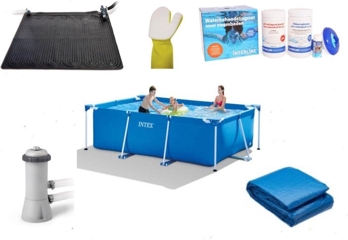 Intex Rechthoekig Zwembad - 300 x 200 x 75 cm - Deluxe pakket - Filterpomp/Grondzeil/Solar mat/Schoonmaakhandschoen/Chloorpakket