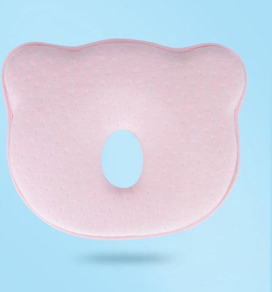 COMFY® Ergonomisch Babykussen tegen Plat Hoofd - Baby Kussen - Voorkeurshouding Baby - Plat Achterhoofd Baby - Hoofdkussen - Voorkom Plat Hoofd - Geurloos - Traagschuim - Roze