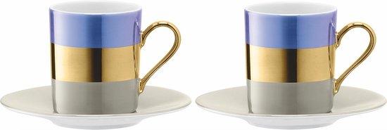 L.S.A. Bangle Koffiekop en Schotel - Porselein - Set van 2 Stuks - Metallic Blauw