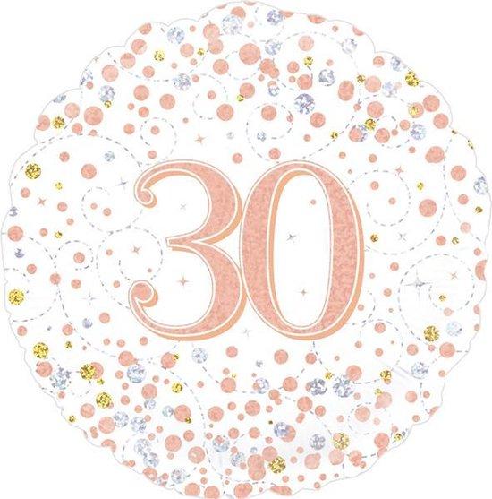 Folie ballon 30 jaar Wit / Roze-goud holografische, 45 centimeter.