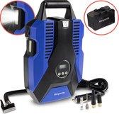 LifeGoods Digitale Compressor – Universele Elektrische Pomp – 10,3 BAR – Geijkte Accu Compressor – Kamperen – DC 12V 35L/min – Inclusief Opbergtas – Blauw