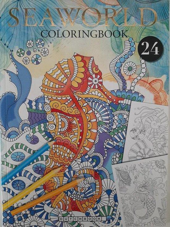 Afbeelding van Kleurboek Volwassenen - Dierenwereld - 24 Kleurplaten - Sea World Onderwater - Dieren Zee - Nieuwe Uitgave Zeedieren