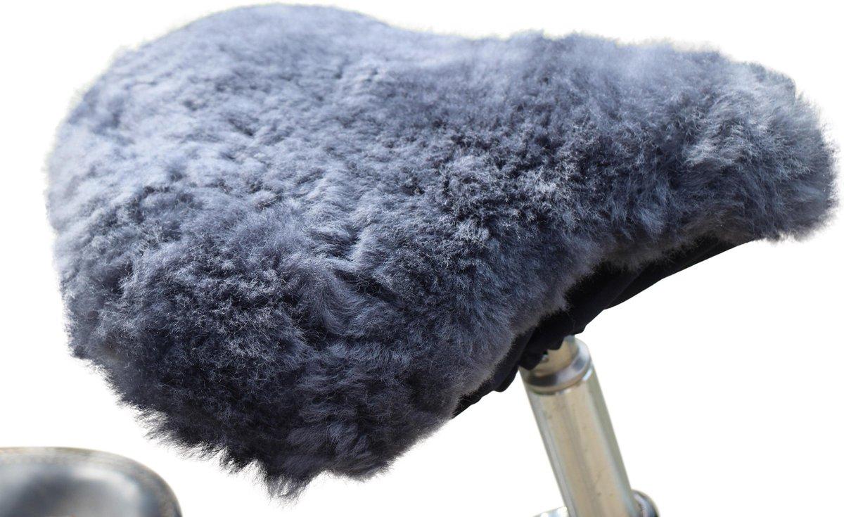 Fietszadel hoesje schapenvacht grijs van Donja HD