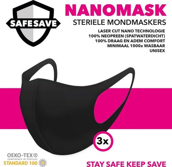 SAFESAVE mondkapjes wasbaar en herbruikbaar-100% neopreen mondkapje-niet medisch mondmasker-3 stuks-Zwart - SafeSave
