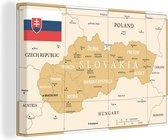 Illustratie van een oude kaart van Slowakije canvas 120x80 cm - Foto print op Canvas schilderij (Wanddecoratie woonkamer / slaapkamer)