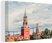 Spasskayatoren van het Kremlin uit de Russische revolutie canvas 60x40 cm - Foto print op Canvas schilderij (Wanddecoratie woonkamer / slaapkamer)