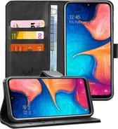 Samsung A20e Hoesje - Samsung Galaxy A20e Hoesje Book Case Leer Wallet Zwart - Hoesje Samsung A20e
