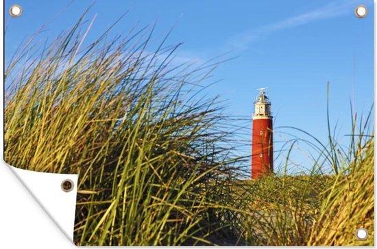 Vuurtoren bij het Nederlandse eiland Texel tuinposter 90x60 cm - Tuindoek / Buitencanvas / Schilderijen voor buiten (tuin decoratie)