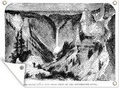 Zwart-wit illustratie van de Grand Canyon in Noord-Amerika 80x60 cm