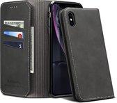 PU + TPU horizontale flip lederen tas met houder en kaartsleuven en portemonnee voor iPhone XR (zwart)