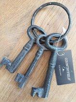 Countryfield - Sleutelbos - 3 Sleutels van Gietijzer aan een Ring - voor Decoratief gebruik