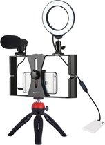 Picca 4 in 1 Tripod - Vlog set – Microfoon – Ringlamp – Camera Statief - Rood