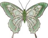 1x Tuindecoratie vlinder van metaal lichtgroen 31 cm - Metalen schutting decoratie vlinders - Dierenbeelden tuindecoratie