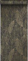ESTAhome behang getekende bladeren zwart en goud - 139126 - 0.53 x 10.05 m