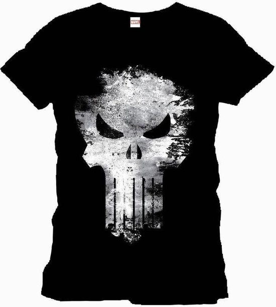 The Punisher - Distress Skull Mannen T-Shirt - Zwart - XL