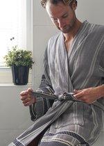 ANATURES Badjas unisex BORA maat L/XL| hamam badjas, dames en heren ochtendjas, sauna kimono| FairTrade - Biologische katoen | NAVY BLAUW L/XL