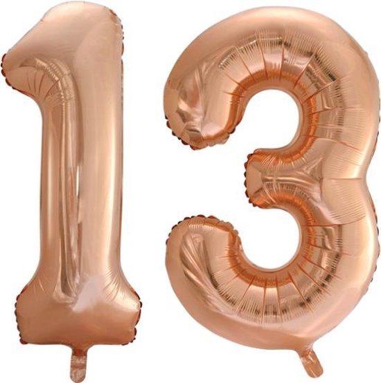 Folieballon nr. 13 Rosé Goud 86cm