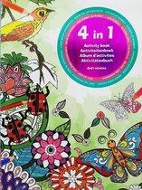 4 in 1 Activiteitenboek volwassenen - kleurboek - kleuren op nummer- zoek de verschillen - kleurplaten - punt naar punt - ANTI STRESS kleur boek dieren bloemen vogels