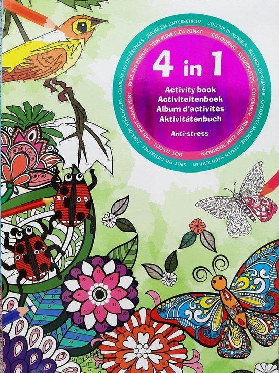 Afbeelding van 4 In 1 Activiteitenboek Volwassenen - Kleurboek - Kleuren Op Nummer- Zoek De Verschillen - Kleurplaten - Punt Naar Punt - Anti-stress