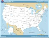 Poster Kaart Amerika / VS / USA met Staten en hoofdsteden - Large 50 x 70 cm