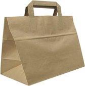 Take Away Papieren Tassen - 32+18x26 cm - Bruin FSC Kraft - Platte Grepen - 50 stuks – Snacktassen voor afhaalmaaltijden
