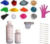 PNCreations Epoxy Hars Voordeelkit | Super Clear Giethars | 17 Delige Set | 9 Verschillende Kleuren | 3 Verschillende Opvulmateriaalen/Opvul |Mengbekers | Wegwerphandschoenen | Herbruikbare Mengspatels | Starterset | Starterkit | Voordeelset