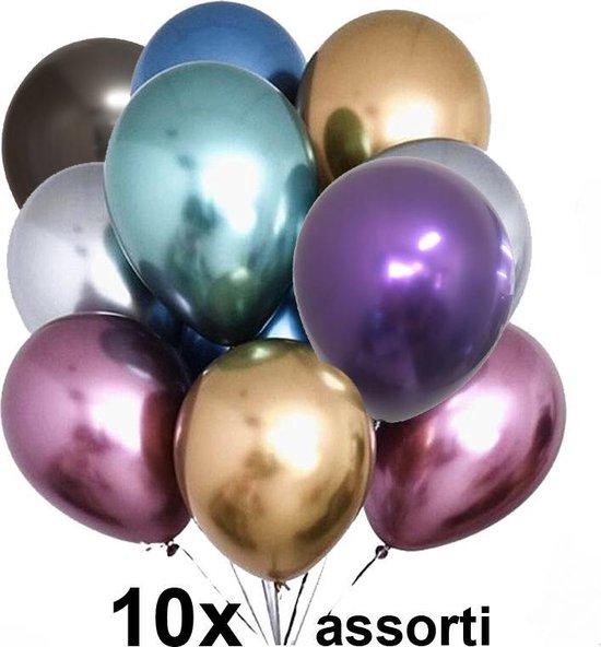 Chrome ballonnen, Assorti kleuren, 10 stuks, 30 cm