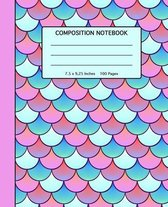 Composition Notebook: Pretty Mermaid Scales Pattern Softcover- 100 Wide Ruled Line Pages - School, High School and College Composition Book