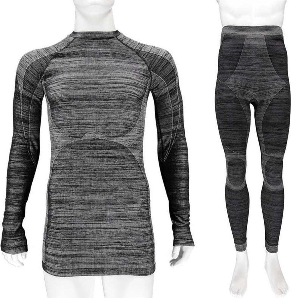 Thermo onderkleding set voor heren zwart melange - maat XL - shirt lange mouw en broek - Wintersport kleding - Thermokleding