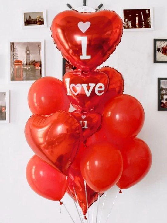 Hartvormige ballonnen set - I LOVE YOU -