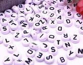 500 Letterkralen Alfabet Wit Rond - Alfabetkralen - 6mm - Acrylkralen - Kralen Letters
