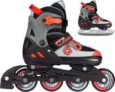 Nijdam Skates Combo Verstelbaar - Red Raider - Zwart/Rood/Grijs - Maat 37-40
