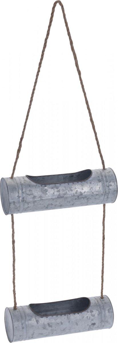 Hangende plantenbak / bloempot - 2 stuks - 7 liter - Zink - Grijs - plantenhanger