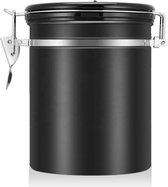 Bewaarbus koffie - Luchtdicht met co2 uitlaat - Koffie bewaarblik - Koffie blik - Voorraadpot - Zwart - RVS - 0,9L - 300 gram