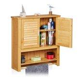 relaxdays badkamerkast LAMELL - hangkast badkamer - handdoekhouder - bamboe - muurkast