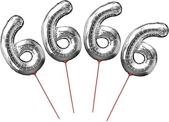 Cijferballon folie nummer 6 op stokje - Folieballon opblaascijfer 6 zilver 30 cm - 4 STUKS