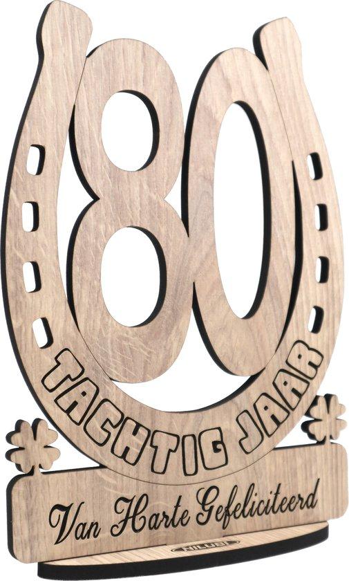 TACHTIG JAAR - houten verjaardagskaart - kaart van hout - wenskaart om iemand te feliciteren met een verjaardag - 80