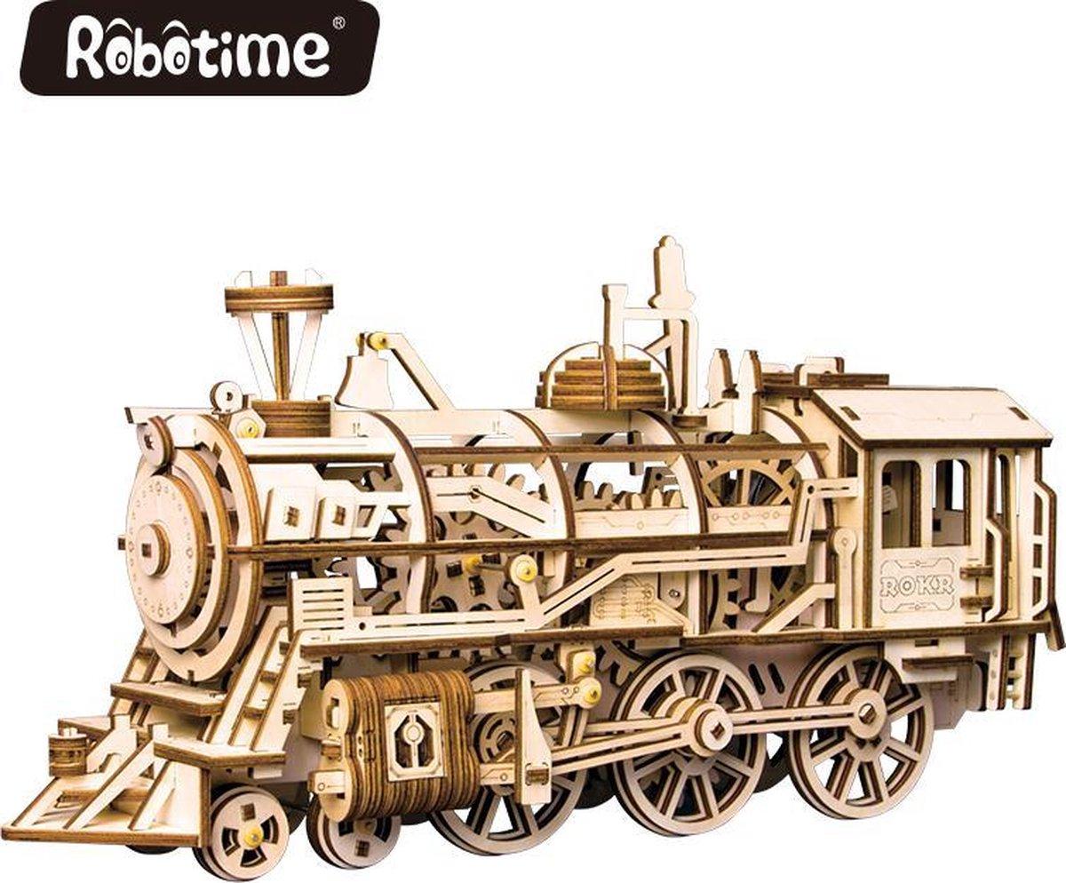 Robotime LK701 locomotief|Modelbouwpakket hout|3D puzzel hout|Puzzel