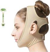 Professionele Afslankband Voor Onderkin - Onderkin Trainer - Strakke Kaaklijn - Afslankpakket Voor Gezicht - Afslankmasker Voor Dubbele Kin - Maat S - Met Jade Massage Roller