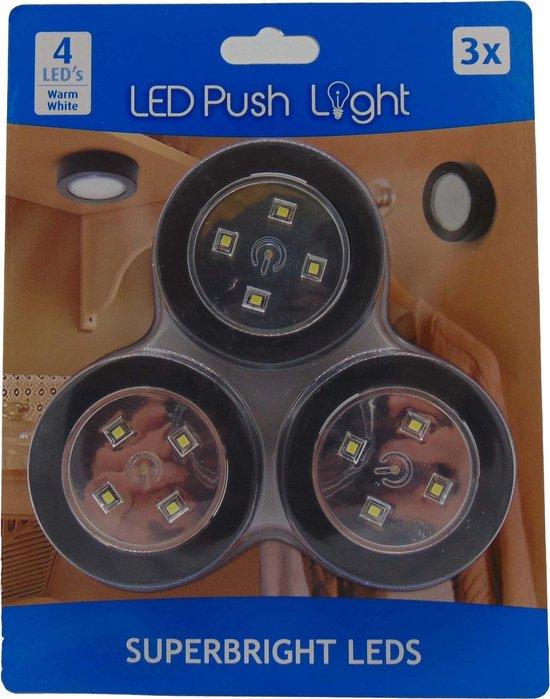LED push light set 3 stuk inclusief 9 batterijen - Kleur: Zwart - Led druk lamp - Led spotjes - Zelfklevende led druklampjes - Interieur led lamp - Led voor in de keuken - Led verlichting interieur - led verlichting voor op de boot - Led voor kasten